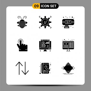 Stock Vector Icon Pack of 9 Line Signs and Symbols for web, dollar, marketing technology, hand, click Editable Vector Design Elements icon