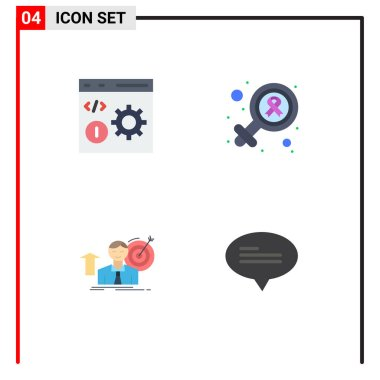 Pack of 4 Modern Flat Icons Signs and Symbols for Web Print Media such as browser, success, development, gender, target Editable Vector Design Elements icon