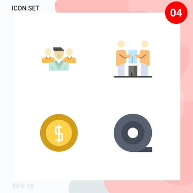 Set of 4 Commercial Flat Icons pack for staff, cash, gang, partners, ecommerce Editable Vector Design Elements icon