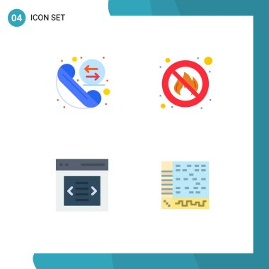 Editable Vector Line Pack of 4 Simple Flat Icons of call, interface, redial, no, user Editable Vector Design Elements icon
