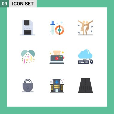 Stock Vector Icon Pack of 9 Line Signs and Symbols for toast, party, pipette, night, party Editable Vector Design Elements icon