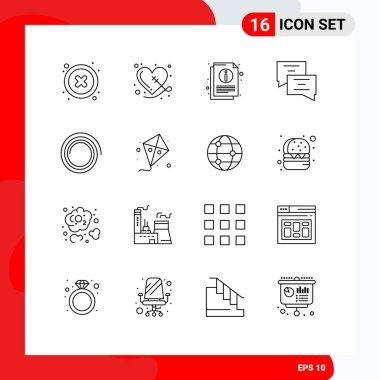 Stock Vector Icon Pack of 16 Line Signs and Symbols for fly, shape, info, message, chat Editable Vector Design Elements icon