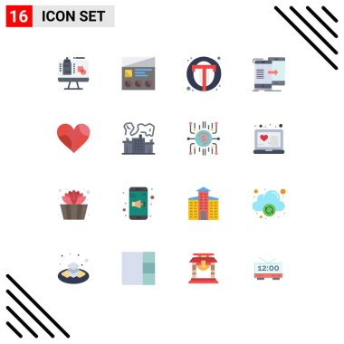 Universal Icon Symbols Group of 16 Modern Flat Colors of synchronization, sharing, usability, data, user Editable Pack of Creative Vector Design Elements icon
