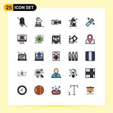 Stock Vector Icon Pack of 25 Line Signs and Symbols for entertaiment, tool, banking, graphic, saving Editable Vector Design Elements icon
