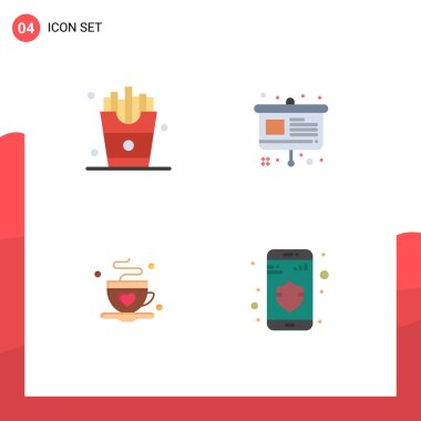 Pack of 4 creative Flat Icons of drink, coffee, french fries, easel, love Editable Vector Design Elements icon