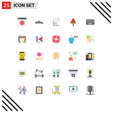 Stock Vector Icon Pack of 25 Line Signs and Symbols for key, typing, analytics, keyboard, food Editable Vector Design Elements