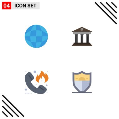 Set of 4 Commercial Flat Icons pack for education, emergency, bank, building, firefighter Editable Vector Design Elements icon
