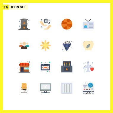 Set of 16 Modern UI Icons Symbols Signs for retro television, global network, configuration, ancient tv, festival Editable Pack of Creative Vector Design Elements icon