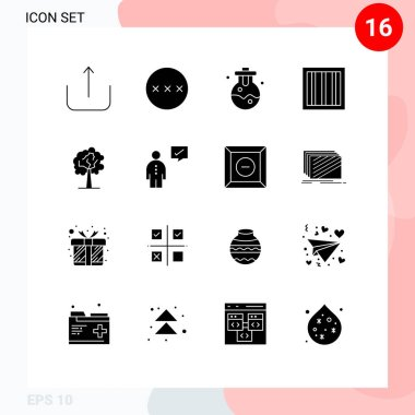 Stock Vector Icon Pack of 16 Line Signs and Symbols for communication, growth, lab, plant, prison Editable Vector Design Elements icon