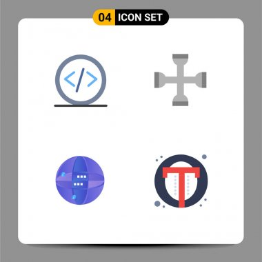 User Interface Pack of 4 Basic Flat Icons of code, wrench, programming, performance, internet Editable Vector Design Elements icon