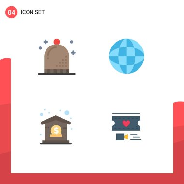 User Interface Pack of 4 Basic Flat Icons of celebration, business, holiday, geography, management Editable Vector Design Elements icon
