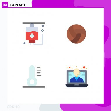 Pack of 4 creative Flat Icons of healthcare, conference, ball, sport, support Editable Vector Design Elements icon