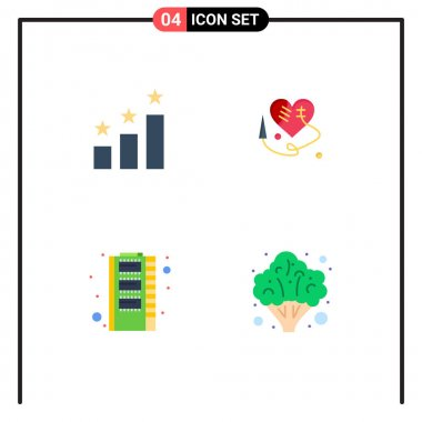 User Interface Pack of 4 Basic Flat Icons of achievement, storage, sewing heart, hardware, healthcare Editable Vector Design Elements icon