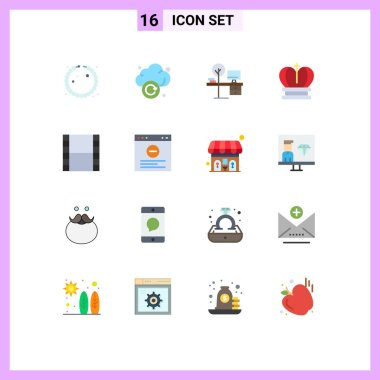Set of 16 Modern UI Icons Symbols Signs for strip, empire, desk, royal, crown Editable Pack of Creative Vector Design Elements icon