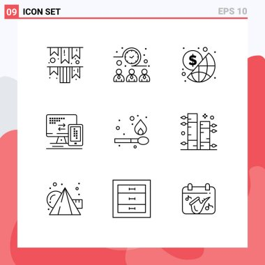 Stock Vector Icon Pack of 9 Line Signs and Symbols for fire, cell, business, mobile, computer Editable Vector Design Elements icon