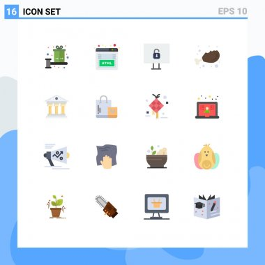 Set of 16 Modern UI Icons Symbols Signs for building, fresh, marketing, food, chicken Editable Pack of Creative Vector Design Elements icon