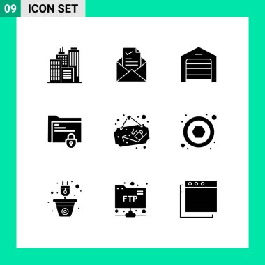 Stock Vector Icon Pack of 9 Line Signs and Symbols for coffee, lock, ecommerce, gdpr, document Editable Vector Design Elements icon
