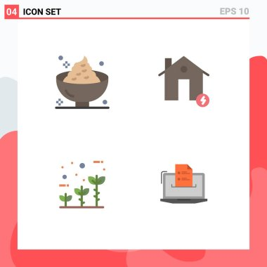 Set of 4 Commercial Flat Icons pack for dinner, estate, mashed, buildings, friendly Editable Vector Design Elements icon