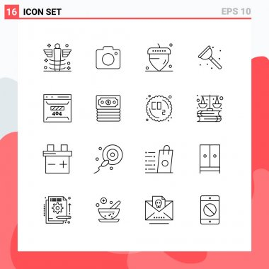 Stock Vector Icon Pack of 16 Line Signs and Symbols for development, service, picture, repair, bathroom Editable Vector Design Elements icon