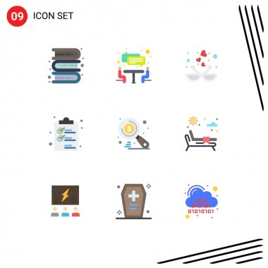 Stock Vector Icon Pack of 9 Line Signs and Symbols for money, list, bird, document, clip Editable Vector Design Elements icon