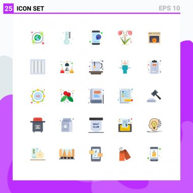 Stock Vector Icon Pack of 25 Line Signs and Symbols for display, spring, medical, nature, flower Editable Vector Design Elements icon