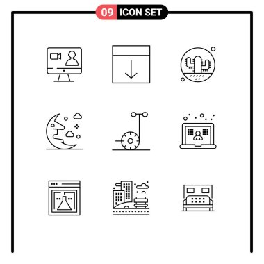 Stock Vector Icon Pack of 9 Line Signs and Symbols for sky, moon, page, cloud, plant Editable Vector Design Elements icon