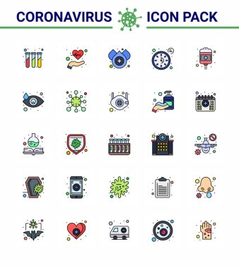 COVID19 corona virus contamination prevention. Blue icon 25 pack such as recovery, timer, pulses, time, clock viral coronavirus 2019-nov disease Vector Design Elements icon