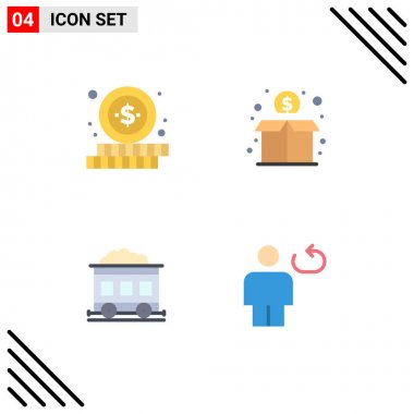 Set of 4 Commercial Flat Icons pack for online, transport, crowd, money, body Editable Vector Design Elements icon