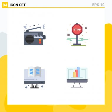 4 User Interface Flat Icon Pack of modern Signs and Symbols of radio, education, technology, journey, computer Editable Vector Design Elements icon
