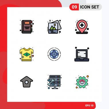Stock Vector Icon Pack of 9 Line Signs and Symbols for world, tshirt, location, flag, brazilian Editable Vector Design Elements icon