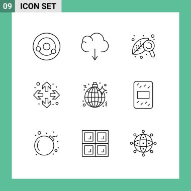 9 Creative Icons Modern Signs and Symbols of party, music, research, disco, full screen Editable Vector Design Elements icon