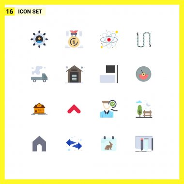 Universal Icon Symbols Group of 16 Modern Flat Colors of jewelry, fashion, first, chain, research Editable Pack of Creative Vector Design Elements icon