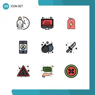 Stock Vector Icon Pack of 9 Line Signs and Symbols for mobile, friend, public, add, power Editable Vector Design Elements icon