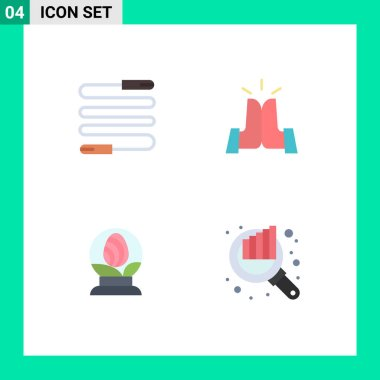 User Interface Pack of 4 Basic Flat Icons of fitness, globe, sports, friends, easter Editable Vector Design Elements icon