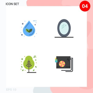 Pack of 4 Modern Flat Icons Signs and Symbols for Web Print Media such as drop, nature, ecology, interior, tree Editable Vector Design Elements icon