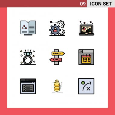 Stock Vector Icon Pack of 9 Line Signs and Symbols for ring, engagement, teamwork, diamond, data Editable Vector Design Elements icon
