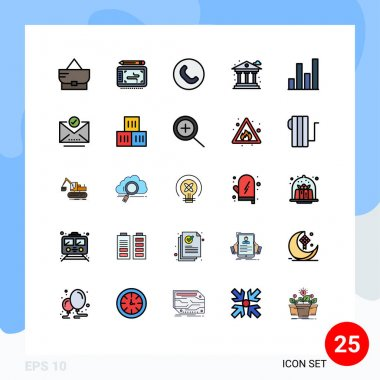 Stock Vector Icon Pack of 25 Line Signs and Symbols for check mark, chart, handset, analytics, bank Editable Vector Design Elements icon