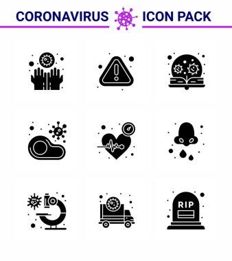 9 Solid Glyph Black viral Virus corona icon pack such as  restaurant, meat, education, food, virus viral coronavirus 2019-nov disease Vector Design Elements icon