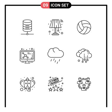 Stock Vector Icon Pack of 9 Line Signs and Symbols for rain, molecule, ball, screen, atom Editable Vector Design Elements icon