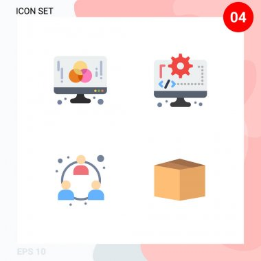 User Interface Pack of 4 Basic Flat Icons of computer, business, graphic, coding, mlm Editable Vector Design Elements icon