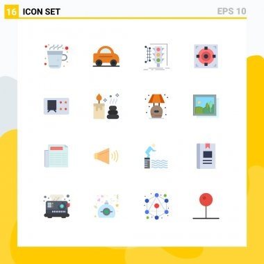 Universal Icon Symbols Group of 16 Modern Flat Colors of ticket, goal, management, success, target Editable Pack of Creative Vector Design Elements icon