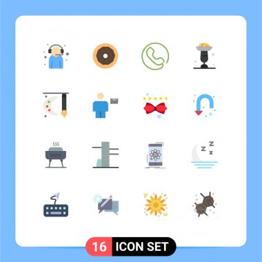 Universal Icon Symbols Group of 16 Modern Flat Colors of art, cupsakes, snack, cupcake, baking Editable Pack of Creative Vector Design Elements icon