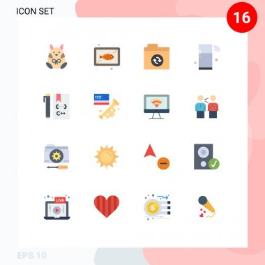 Set of 16 Modern UI Icons Symbols Signs for c, things, cook, refrigerator, internet Editable Pack of Creative Vector Design Elements icon