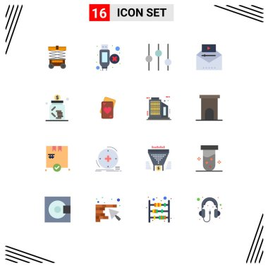 16 Creative Icons Modern Signs and Symbols of investment, banking, options, viral video, video advertising Editable Pack of Creative Vector Design Elements icon