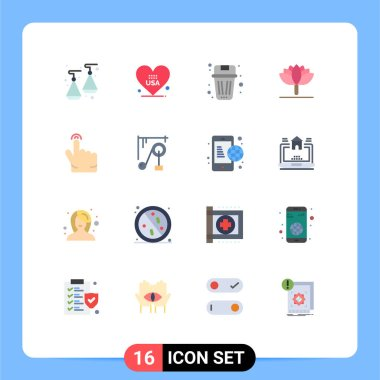 Stock Vector Icon Pack of 16 Line Signs and Symbols for touch, double, been, tulip, flower Editable Pack of Creative Vector Design Elements icon
