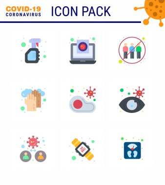 Novel Coronavirus 2019-nCoV. 9 Flat Color icon pack  medical, healthcare, report, transfer, human viral coronavirus 2019-nov disease Vector Design Elements icon