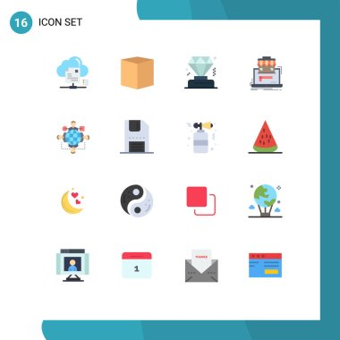 16 Creative Icons Modern Signs and Symbols of function, data, e, organization, business Editable Pack of Creative Vector Design Elements icon