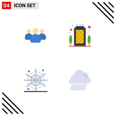 Set of 4 Commercial Flat Icons pack for friends, holidays, team, office, cloud Editable Vector Design Elements icon