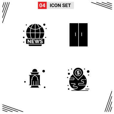 Stock Vector Icon Pack of 4 Line Signs and Symbols for world wide, masjid, news, home appliances, moon Editable Vector Design Elements icon