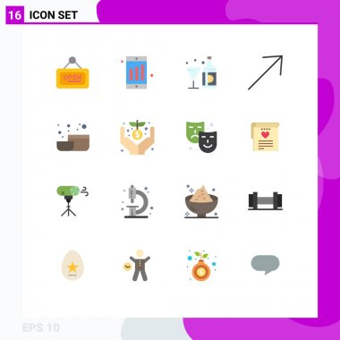 Set of 16 Modern UI Icons Symbols Signs for tool, bowl, wine, up, arrow Editable Pack of Creative Vector Design Elements icon